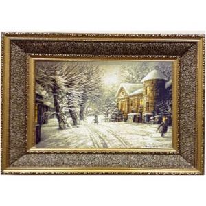 """Гобеленовая картина в двойной раме """"Снег Выпал. Замок. (Е.Шишкин)"""" (95х70)"""