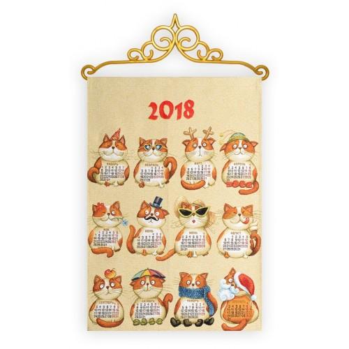 """Календарь """"2018 Двенадцать месяцев Кошки"""" (33х50)"""