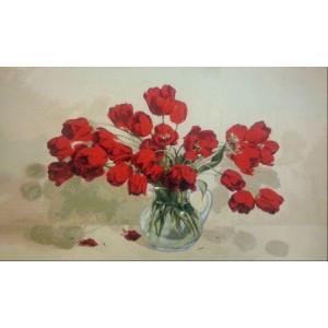 """Панно """"Алые тюльпаны"""" (115х70)"""