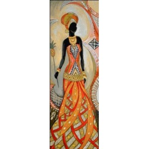 "Панно ""Африканка с ананасом"" (35х100)"