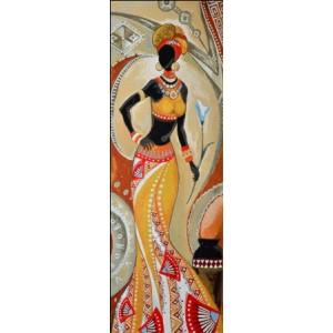 """Панно """"Африканка с цветком"""" (35х100)"""