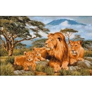 """Панно """"Африканские львы евро"""" (55х35)"""