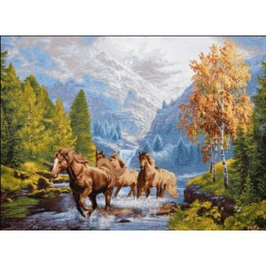 """Панно """"Бегущие лошади"""" (97х70)"""