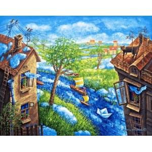 "Панно ""Весна на окраинах (Е.Шишкин)"" (90х70)"
