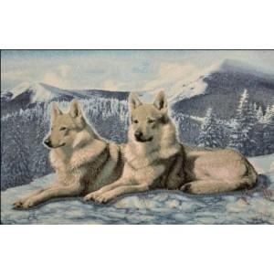 """Панно """"Волки на снегу евро"""" (55х35)"""