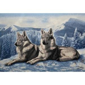 """Панно """"Волки на снегу"""" (100х70)"""