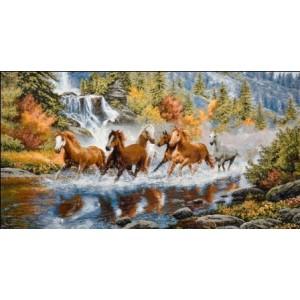 """Панно """"Лошади у водопада"""" (130х70)"""