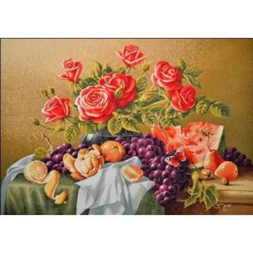 "Гобеленовое панно ""Натюрморт с розами"" (70х50)"