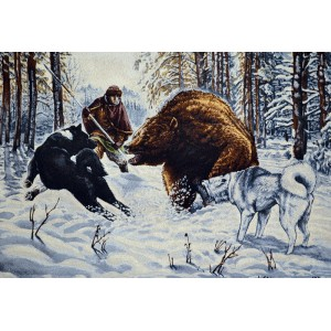 "Панно ""Охота на медведя"" (100х70)"