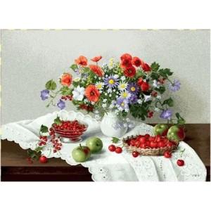 """Панно """"Цветы и ягоды"""" (70х50)"""