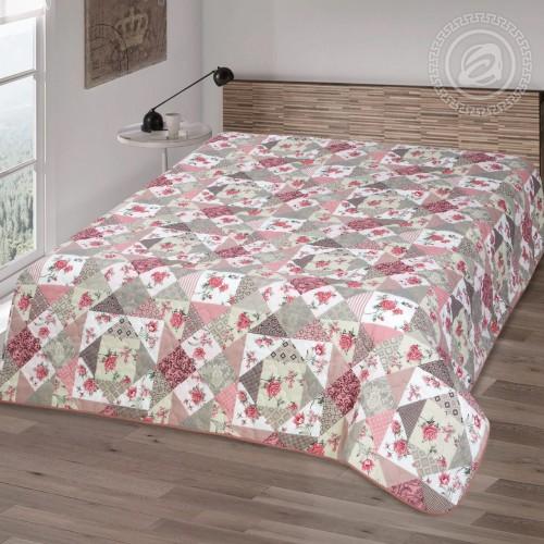 Покрывало Лоскутная мозаика розовый 2256