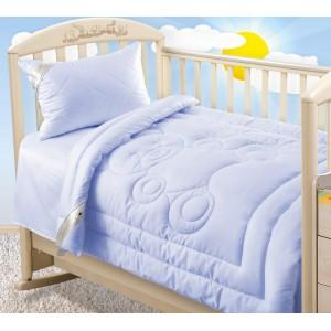 Одеяло Лебяжий пух 300 г, сатин г/к, детское, светло-голубой