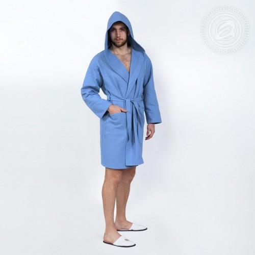 Халат запашной с капюшоном (голубой) 0125XL