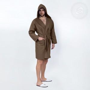 Халат запашной с капюшоном (коричневый) 012 S/M