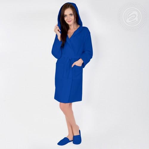 Халат запашной с капюшоном (синий) 012 S/M