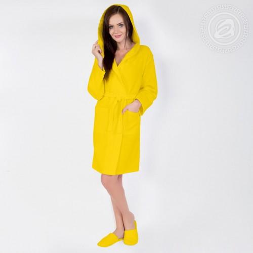 Халат запашной с капюшоном (желтый) 012 S/M