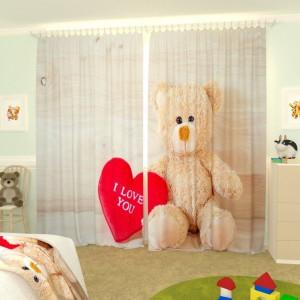 Детские фотошторы Влюбленный медвеженок