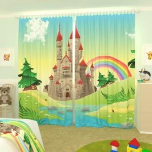 Детские фотошторы Замок и радуга