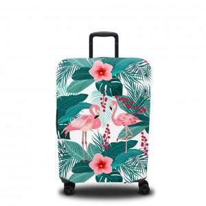 Чехол для чемодана Пальмы и фламинго