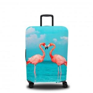 Чехол для чемодана Пара фламинго