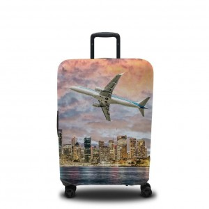 Чехол для чемодана Самолёт над городом