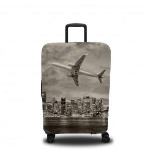 Чехол для чемодана Самолёт над городом черно-белый