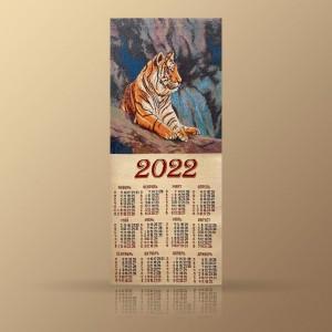 """Гобеленовый календарь """"2022 Тигр В Горах"""" (32х79)"""