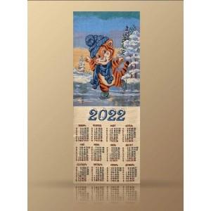 "Гобеленовый календарь ""2022 Тигренок На Коньках"" (32х84)"