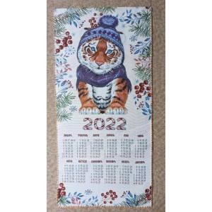 """Гобеленовый календарь """"2022 Тигренок в шапке.Рябина"""" (38х72)"""