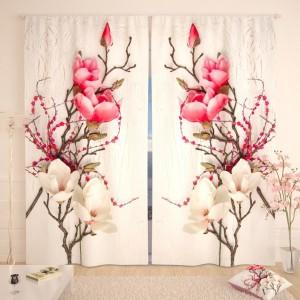 Фотошторы Цветочная композиция на белом дереве