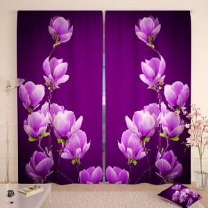Фотошторы Цветы магнолии на пурпурном фоне