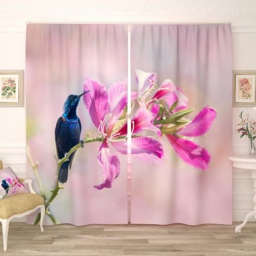 Фотошторы Птичка на цветке