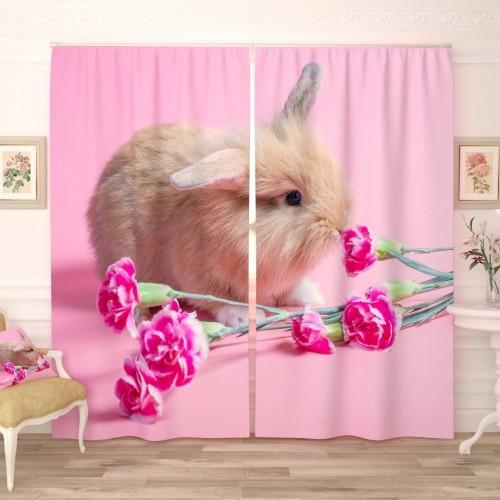 Фотошторы Кролик с цветочками