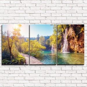 Модульная картина Тихий водопад 3-1