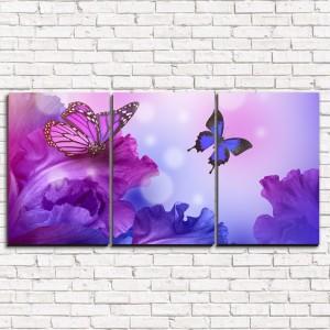 Модульная картина Фиолетовые бабочки 3-1