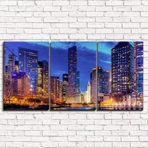 Модульная картина Рассвет в мегаполисе 3-1