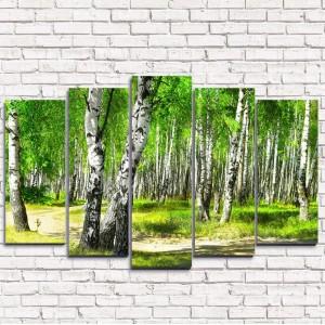 Модульная картина Утренний березовый лес 5-1