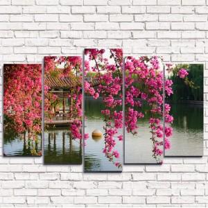 Модульная картина Цветы в китайском парке 5-1