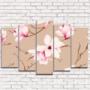 Модульная картина Цветы на ветках 5-1