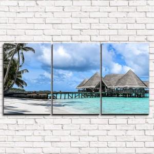 Модульная картина Хижины на острове 3-1