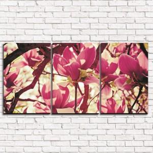 Модульная картина Цветочное розовое дерево 3-1