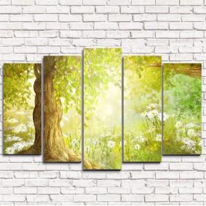 Модульная картина Утренний сказочный лес 5-1