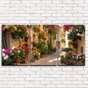 Модульная картина Цветочная улочка в Италии 3-1