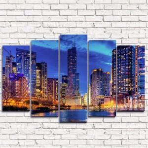 Модульная картина Рассвет в мегаполисе 5-1