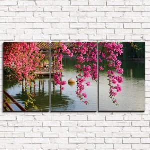 Модульная картина Цветы в китайском парке 3-1