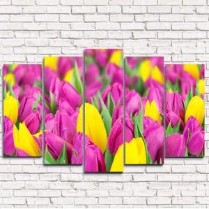 Модульная картина Сиреневые тюльпаны 5-1
