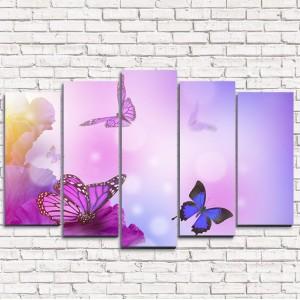 Модульная картина Фиолетовые бабочки 5-1