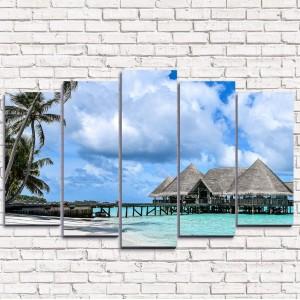 Модульная картина Хижины на острове 5-1