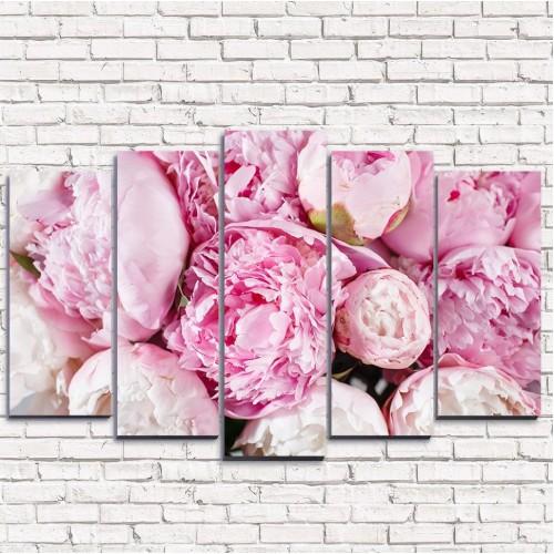 Модульная картина Розовые пионы 5-1