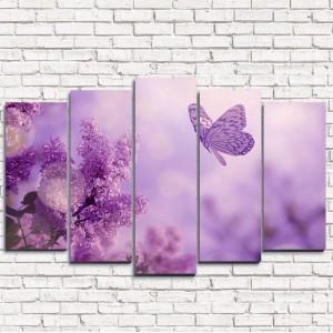 Модульная картина Сирень и бабочка 5-1